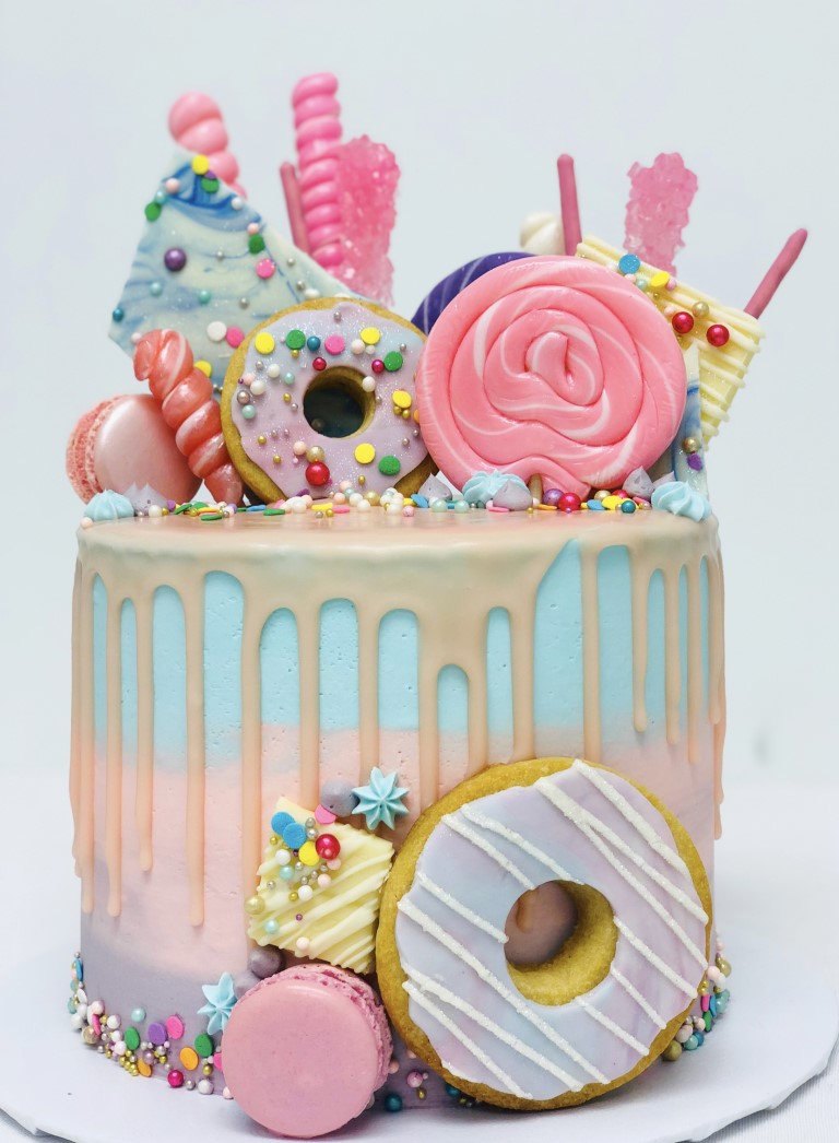 Pastel Pink Blue Cookie Donut Candy Toppers Macarons Buttercream Cake 7 Sweetguilt